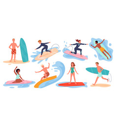 surfer people surf on summer sea beach set man vector image