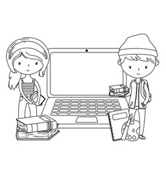 teenager boy and girl cartoon design vector image
