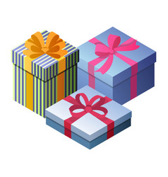 three beautiful gift boxes vector image