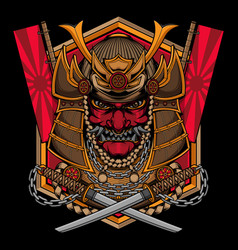 traditional samurai mask logo vector image