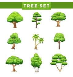 Tree Crowns Flat Icons Set vector image