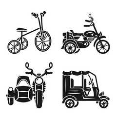 Tricycle icon set simple style vector