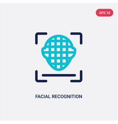 two color facial recognition icon from artificial vector image