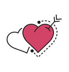 Two heart and arrow pink vector
