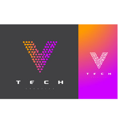 v letter logo technology connected dots letter vector image