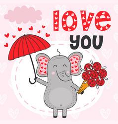 valentine elephant under umbrella with bouquet vector image