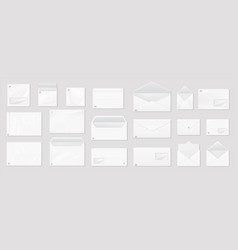 white envelope realistic mail mockup blank vector image