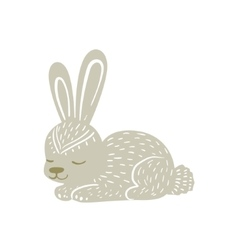 White rabbit relaxed cartoon wild animal with vector