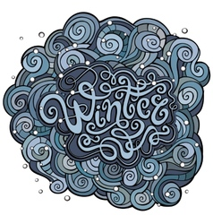 Winter hand lettering with curled background vector