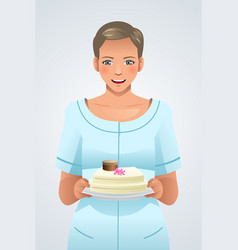 Woman holding a plate of cake vector