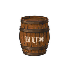 wooden rum barrel isolated vector image