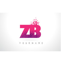 Zb z b letter logo with pink purple color vector