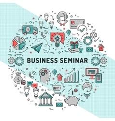 Business seminar design templates line art vector