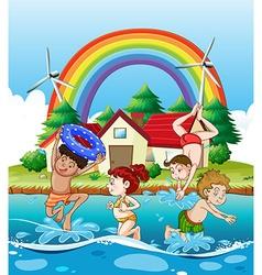 Children swimming in the sea vector image vector image