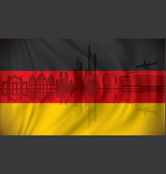 flag of germany with frankfurt skyline vector image vector image