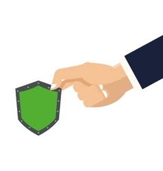hand holding shield icon vector image