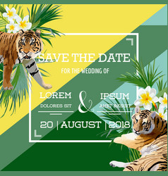 tropical flowers and tiger summer wedding card vector image vector image