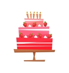 Cake with cream berries vector image