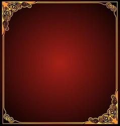 Gold frame floral corner vector