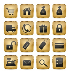 Golden Shop Icons vector image vector image