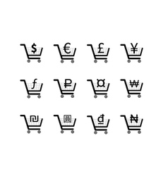 Shopping carts icons with main currency signs vector image vector image