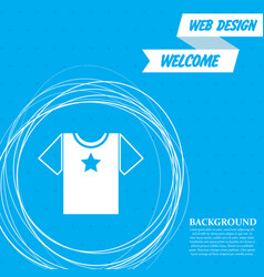 t-shirt icon on a blue background with abstract vector image