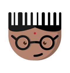 the indian cartoon character with glasses vector image