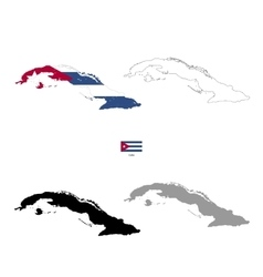 Cuba country black silhouette and with flag on vector image vector image
