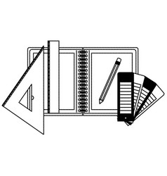drawing tools and notebook in black dotted contour vector image vector image