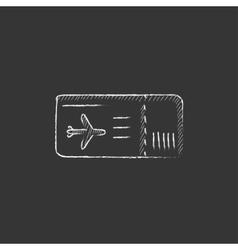Flight ticket Drawn in chalk icon vector image vector image