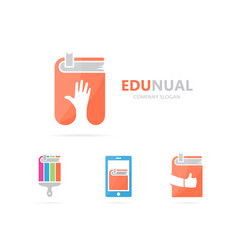hand and book logo combination arm and vector image