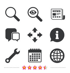 magnifier glass and globe signs fullscreen vector image