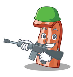 army bacon character cartoon style vector image
