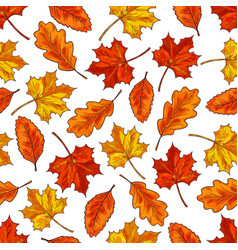 autumn leaf seamless pattern background vector image vector image