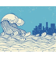 Big waves poster on old paper texture vector image