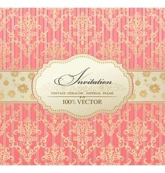 invitation vintage label vector frame pink vector image