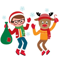 Jolly Santa Claus and reindeer vector image vector image