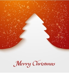 Red abstract christmas tree applique with snow vector image vector image