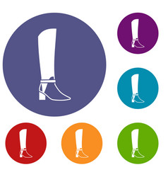 women high boots icons set vector image vector image