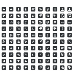 100 Arrow icons set square black vector image