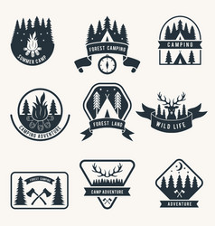 Adventure monochrome badges set silhouette of vector
