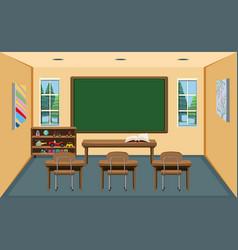 An interior empty classroom vector