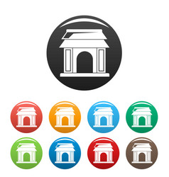 asian gate icons set color vector image