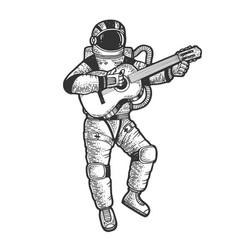 astronaut in spacesuit play guitar sketch vector image