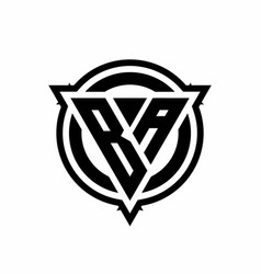 Ba logo with triangle shape and circle with vector