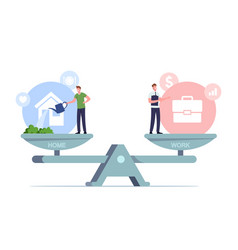 Balance between work and home concept tiny male vector