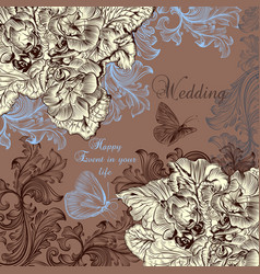 beautiful wedding greeting card with swirls vector image
