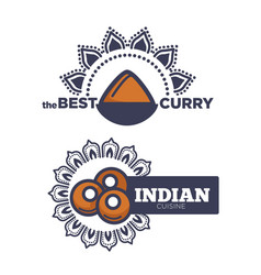 best curry indian cuisine poster with sauce vector image