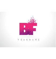 bf b f letter logo with pink purple color and vector image