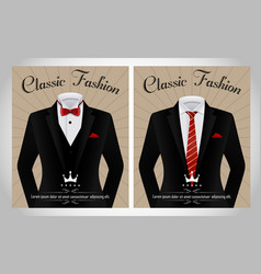 Black business suit template with a red tie and wh vector